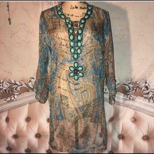 Shoe Dazzle Tops - Silk Sheer Boho Jeweled Tunic